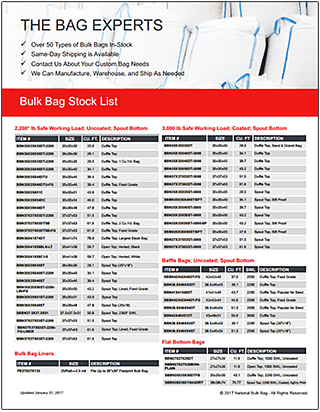 FIBC Bulk Bags, In Stock FIBC list, National Bulk Bag