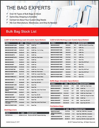 FIBC Bulk Bags, In Stock FIBC list, National Bulk Bag